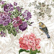 Servietten/Napkins/20St.Packg./Serviettentechnik/Charming Garden/Vintage/Blumen/Vogel