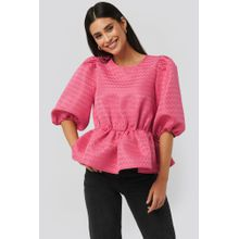 NA-KD Boho Structured Puff Blouse - Pink