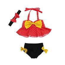 Hirolan 3 Stück Säugling Bikini-Set Kinder Schwimmanzug Baby Mädchen Sommerkleidung Riemen Punkt Badeanzug Outfits Slips Bademode Bandage Blumenkleid Triangelbikini (70, Rot)