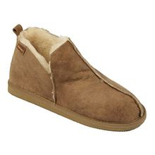 Damen stiefel-stil lammfell pantoffel mit Leder Obermaterial - Kastanie, 4 UK