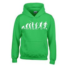 FUSSBALL Evolution Kinder Sweatshirt mit Kapuze HOODIE green-weiss, Gr.128cm