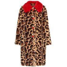 Bedruckter Mantel aus Faux Fur
