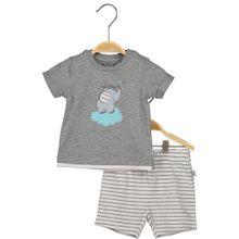 BLUE SEVEN T-Shirt & Shorts hellblau / grau / weiß