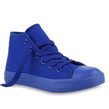 Kinder Turn Sneakers Schnür Sport Stoff Schuhe 140011 Blau Full 34 Flandell