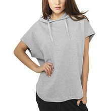 Urban Classics Damen Sweatshirt Ladies Sleeveless Terry Hoody Grau (Grau) Small