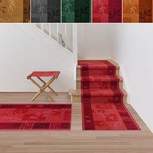 Treppenteppich / Treppenläufer | viele Größen | stilvoller Läufer für den durchlaufenden Treppenbelag | GUT-Siegel | Qualitätsprodukt aus Deutschland (rot 80x200 cm)