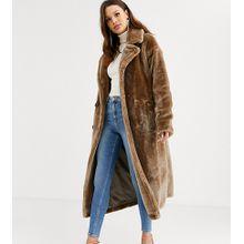ASOS DESIGN Tall - Langer Mantel aus flauschigem Kunstpelz mit Ziernähten - Grau