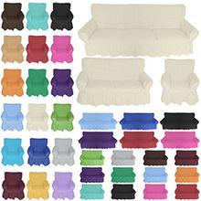 Nurtextil24 Sofahussen 100% Baumwolle in 20 Farben und 3 Größen Sesselbezug 1er Creme