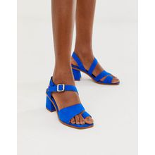 ASOS DESIGN – Hickery – Hochwertige Wildledersandalen in Blau mit Zehenschlaufe und Blockabsatz