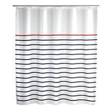 Wenko 20964100 Duschvorhang Marine White - waschbar, mit 12 Duschvorhangringen, 100% Polyester, Mehrfarbig