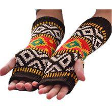 HITOP Damen Accessory geometrische Muster Trendige gestrickte fingerlose Armstulpen Feinstrick lang Pulswärmer Handwärmer Stulpen (braun)