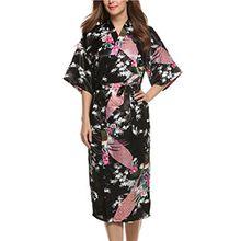 Avidlove Damen Morgenmantel Satin Kimono Satin Negligees Gr. XL