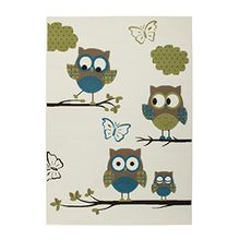 Kinderteppiche 3DEffekt EULE Schmetterling Flachflor Teppich Elfenbein Türkis , Größe:160cm x 230cm