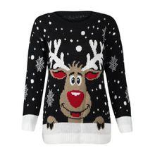 Damen Strick-Pullover Rudolf Rentier Weihnachten - Medium / Large, Schwarzes Rentier 1