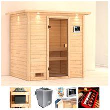 KARIBU Sauna »Wangerooge«, 224x160x191 cm, 9 kW Ofen mit ext. Steuerung, Dachkranz