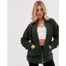 Missguided - Oversized-Jacke mit durchgängigem Reißverschluss und Kunstfell - Grün