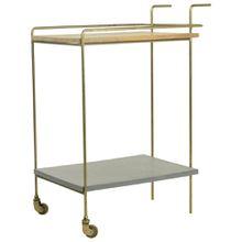 Carryhome SERVIERWAGEN Holz, Metall, Stein Mangoholz massiv Mehrfarbigfarben, Gold