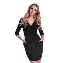 Glamour Empire. Damen Jersey Gerafftes Tulpenkleid mit Taschen Gr. 38-48. 236 (Schwarz), EU 42, XL