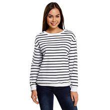oodji Ultra Damen Lässiges Sweatshirt mit Streifen, Weiß, DE 40 / EU 42 / L