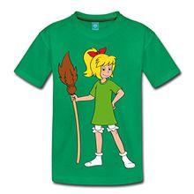 Spreadshirt Bibi Blocksberg Mit Ihrem Besen Kartoffelbrei Kinder Premium T-Shirt, 98/104 (2 Jahre), Kelly Green