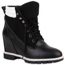 Damen Stiefeletten Keilabsatz Keilstiefeletten Profilsohle Schuhe 108113 Schwarz 38 Flandell