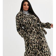 ASOS DESIGN Curve - Oversize-Mantel mit Leopardenmuster und Gürtel - Mehrfarbig