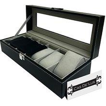 Luxus Uhrenbox–6Samt Kissen Slots, Premium PU Leder Display Case mit Glas Deckel, edlen Kontrast Nähte, stabile und sicher Lock–von CAS de 'Lux