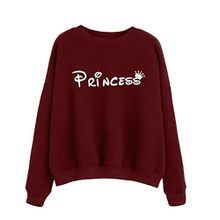 Kanpola Damen Sweatshirt Princess Langarm Hoodie Kapuzenpullover Tops Bluse Tuniken (S, Weinrot)