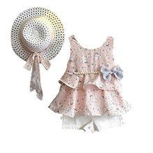 Bekleidung 3 Stück Kleinkind Baby T-Shirt+Shorts kurze Hosen +Sonnenhut Hirolan Kind Mädchen Outfits Kleider Blumen Weste SommerKleidung Chiffon Strampler Spielanzug (90, Rosa)