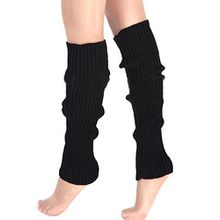 A&Z; Super Warme Damen Frauen Beinstulpen Stricken Stiefel Manschetten Socken Leg Knit Stulpen Warmers Socks Cuffs Knie 10 Farben (Schwarz)