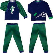 Kinderbutt Schlafanzug 2er-Pack marine/grün Größe 122/128