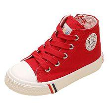 VECJUNIA Kinder Jungen und Mädchen Klassisch Schnürsenkel Hohe Unisex Sneaker Outdoor und Sport Schuhe Rot 23 EU