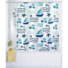 Duschvorhang Textil Boating Duschvorhang blau weiss 120x200 cm incl. Ringe