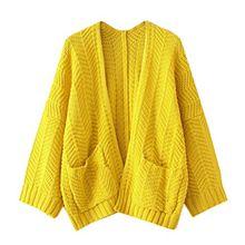 Strickjacke Damen,Dasongff Frauen Stricken Cardigan Langarmshirt Strickjacke mit Taschen V-Ausschnitt Lose Pullover Pulli Jacke Strickmantel (Gelb, One size)