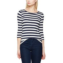 PIECES Damen Langarmshirt Pctrine 3/4 Sleeve Top Noos, Mehrfarbig (Cloud Dancer Stripes:Navy Blazer), 38 (Herstellergröße: M)