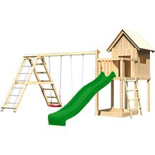 Spielturm Frieda mit Anbau, Satteldach, Gerüst, Doppelschaukel und Rutsche grün