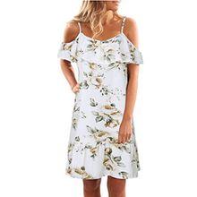 Damen Kleider Frauen Dress Blau Sommerkleider Vintage Blumenkleid Ärmelloses Blume Bedruckt Minikleid Halfter Strandkleid Abendkleid Großen Größen Partykleid Cocktailkleid (2XL, Sexy Weiß)
