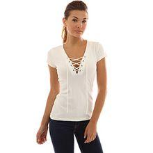 PattyBoutik Damen V-Ausschnitt stretch Bluse mit kurzen Ärmeln und Schnüren (elfenbein 36/S)