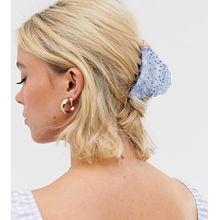 Glamorous - Exklusive Haarkralle mit hellblauen Strasssteinen - Braun