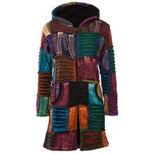 Patchwork-Mantel | Hippie-Mantel | Model Long Coat | Innenfutter aus Fleece | Damen | Goa-Jacket | Cutwork | Kapuzen-Sweatmantel | Individuell | Handarbeit aus Nepal
