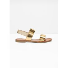 Wide Strap Sandals - Gold