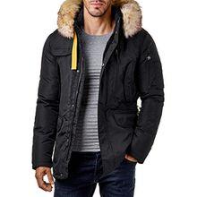 EightyFive Herren Winter-Jacke Mantel Fell-Kapuze Khaki Navy Beige Schwarz EF317, Größe:S, Farbe:Schwarz