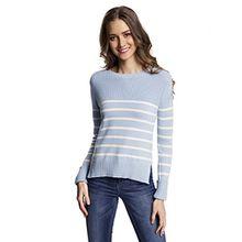 oodji Ultra Damen Baumwoll-Pullover Gestreift, Blau, DE 34 / EU 36 / XS