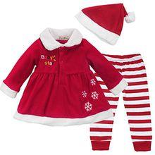 Tiaobug Baby Mädchen Weihnachtskostüm - Weihnachten Kleidung im Set Warm Langarm Weihnachten Kleid Hose mit Weihnachtsmütze Rot 86-92 (Herstellergröße: 100)