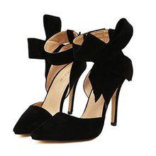 Xianshu Womens Bow Tie High Heel Pumps Party Dress Court Schuhe(Black-38)