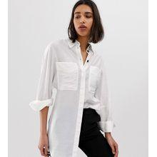Mango - Langes Hemd mit Taschen in gebrochenem Weiß - Weiß