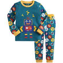 Vaenait Baby Kinder Jungen Nachtwaesche Schlafanzug 2 Stueck Set Mega Robot Green L