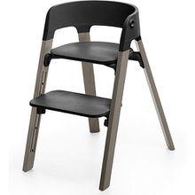 Steps™ Hochstuhl, Sitz black inkl. Beine Buchenholz, hazy grey grau/braun