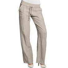 CASPAR KHS025 Damen Leinenhose, Farbe:beige;Größe:46 3XL UK18 US16