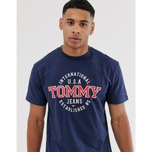 Tommy Jeans - T-Shirt mit rundem Logo - Schwarz